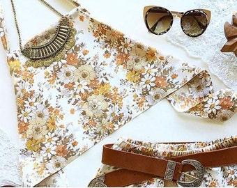 Retro floral print hippie boho festival fashion halter crop top