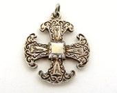 Vintage sterling silver celtic cross watch fob or charm Edinburgh 1978