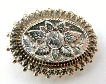 Antique English sterling silver oval sweetheart brooch single rose
