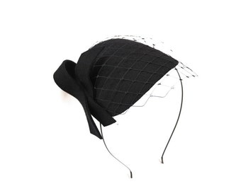 Black  Fascinator with Veil and Bow
