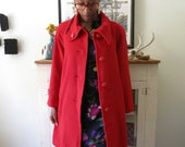 M, L red wool coat, 60s mod, oversized collar, from Japan