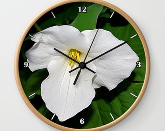Trillium wall clock, spring wildflower photograph, gift for gardener, white flower, botanical nature photograph clock, landscape