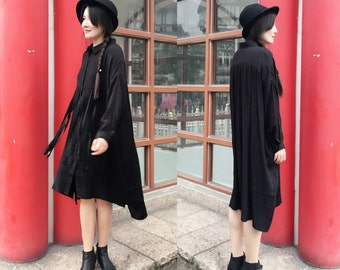 Free Style Pleated Linen Long Shirt Dress with Frings/ Babydoll Oversize Long Blouse/ Any Size/ 5 Colors/ RAMIES