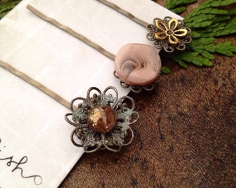 Bronze and Gold Reclaimed Jewels Hair Pin, Bobby Pin Set