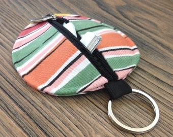 personalized POUCH/ ORGANIZER for earbuds / coins / cards / small items - festive stripes