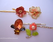 Vintage earrings hair clips - Spring peach coral gold silver floral enamel bauble white pearl rhinestone jeweled decorative hair accessories