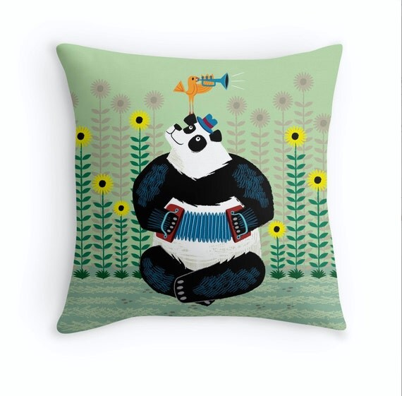 "Panda Piazzolla and The Trumpet Bird - Children's Throw Pillow / Cushion Cover - Kids art - Nursery Decor - (16"" x 16"") by Oliver Lake"