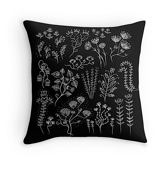 "Plant Lyfe (No.2) - black and white - illustrated Cushion Cover / Throw Pillow (16"" x 16"") by Oliver Lake"