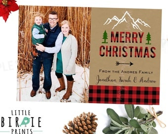 Buffalo Plaid Christmas Card with Photo - Lumberjack Christmas Card - Rustic Christmas Card - Buffalo Plaid Holiday card Arrow