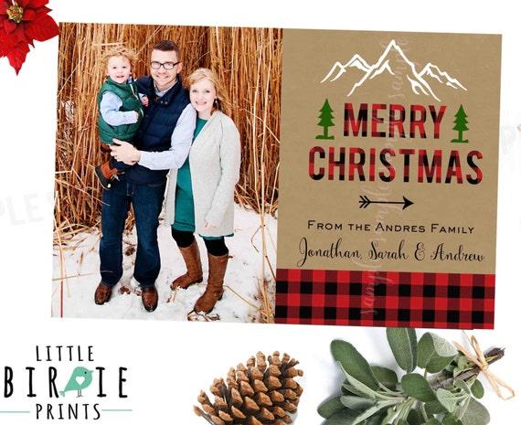 Buffalo Plaid Christmas Card with Photo - Lumberjack Christmas Card - Rustic Christmas Card - Buffalo Plaid Holiday card Arrow
