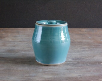 Lidded Stoneware Jar, Decorative Kitchen Canister for Storage in Turquoise