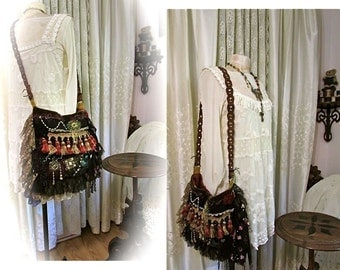Hippie Gypsy Bag, velvet chenille fabric shoulder bag, handmade unique OOAK, layers ruffle lace beads fringe bag, long crossover body strap