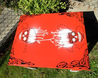 One of a Kind Hand Painted Burnt Orange Table with Tribal Sugar Skulls and Antler Crowns