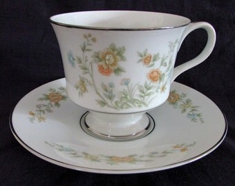 Vintage Sango China CAMELOT #3839, Cup & Saucer, Floral Pattern, Mint