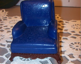Renwal Vintage Dollhouse Furniture Dark Blue Arm Chair