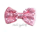 Pink Sequin Basic Bow 4 inch - Pink Bow, Pink Hair Bow, Pink Bow Tie, Pink Bow Baby, Pink Glitter Bow, Hair Bows - Hairbow Supplies, Etc.
