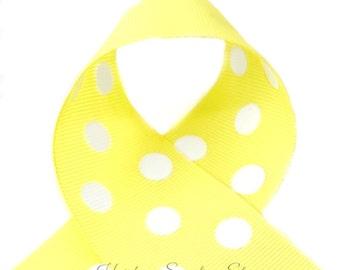 Lemon Yellow Polka Dots 1-1/2 inch Polka Dot Grosgrain Ribbon - Polka Dot Ribbon, Polka Dot Hair Bow, Polka Dot Bow, Ribbon By The Yard