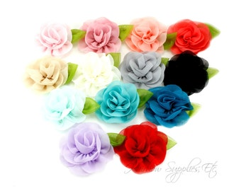 Candlelight Rose 2 inch Chiffon Flowers, Chiffon Flower Headband, Hair Flowers, Hair Flower Clip, Flower Headband, Flower Headband Baby