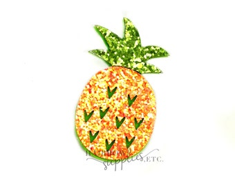 Pineapple Glitter Felt Appliques - Felt Applique, Feltie, Felties, Summer Felties, Wholesale Felties, Felt Accessories, Felt Hair Clip