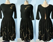 Beautiful Womens Vintage 1940s 1950s Black Wool Hand Painted Dress Holiday Glamour Modern XXS