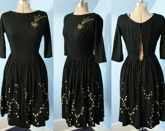 Reduced Price! Beautiful Womens Vintage 1940s 1950s Black Wool Hand Painted Dress Holiday Glamour Modern XXS