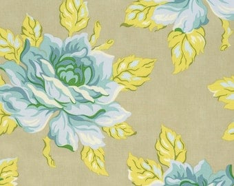 Heather Bailey - Nicey Jane - Hello Roses in Dove - Blue yellow gray large print floral - cotton quilting fabric - choose your cut