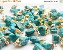55% ON SALE Raw Turquoise Connectors, Turquoise Gold Connectors, Rough Turquoise Gemstone Connector, Single Loop, 5 Pcs, 12-20mm