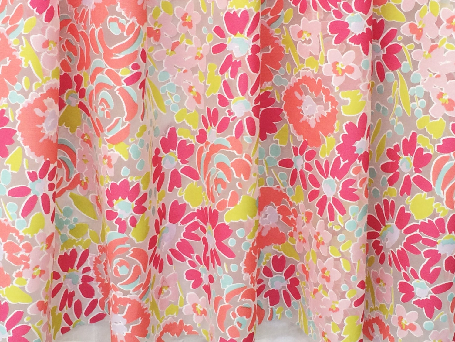 Pink blooming flowers sheer curtain fabric by the yard for Kids drapery fabric