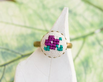 Violet ring in purple, cross stitch romantic ring, r004purple