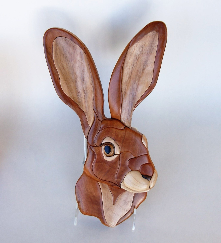 Jack Rabbit Intarsia Wall Hanging Animal Wood Carving
