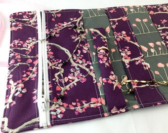 Travel Jewelry Organizer Travel Jewelry Roll Fabric Jewelry Pouch Travel Jewelry Case Jewelry Case Art Gallery Enchanted Leaves Plum Purple