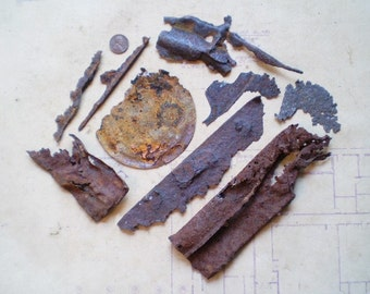 9 Very Rusty Metal Parts - Found Objects for Assemblage, Sculpture or Altered Art - Salvaged Supplies
