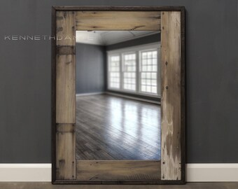 Wood Mirror Distressed Reclaimed Barnwood Mirror Bathroom Mirror Farmhouse Whitewash 32 X 24 Powder Room Mirror