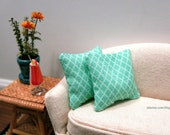Teal Moroccan pillows - set of two - dollhouse miniature