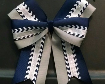 Hair Bow Chevron Navy Blue, White and Gray cheer, softball double bow 6 inches