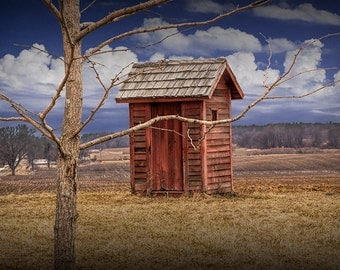 Old Red Rustic Wooden Outhouse in West Michigan No.0443 A Fine Art Historical Rural Landscape Photograph