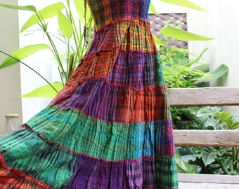 Thai Woven Cotton Long Tiered Skirt/ Dress - OMWV 1610-18