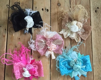 Lace rosette bow clips