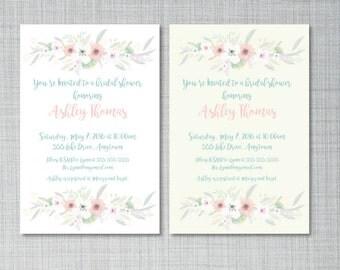Watercolor Floral Bridal Shower Invitation - You Print