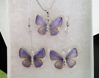 Natural Purple Butterfly Wings - Pendant and Earring Set - Mystical, Magical, Transformation