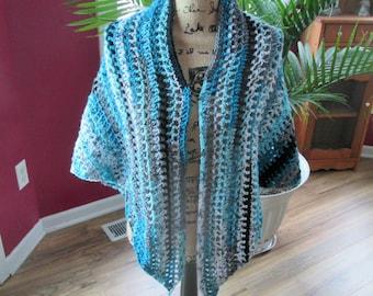 "Women's crocheted triangle shawl, 68""x33"""
