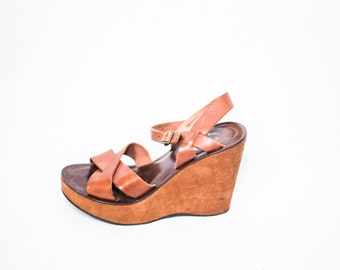 brown leather strap chunky wedge platform sandals - womens size 6 7 - gladiator boho sandals