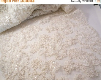 "ON SALE Ivory Beaded and Sequined French Alencon Bridal Lace Trim 17"" Wide--One Yard"