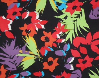 REMNANT--Red and Apple Green on Black Tropical Floral Print Stretch Cotton Sateen Fabric--21 INCHES