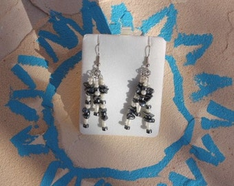 Hematite and pearl earrings