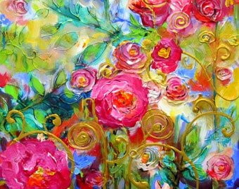Rose Original Painting Canvas art 16 x 20 Art by Elaine Cory