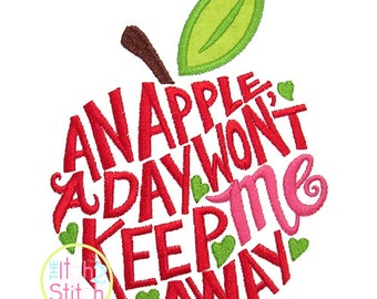 Apple A Day Applique,  Sizes 4x4, 5x7, & 6x10, INSTANT DOWNLOAD available