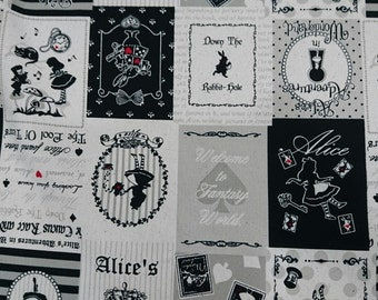 """2016 Alice wonderland  - 1 yard - cotton linen - 2 colors - Fairy tale ,sewing , Check out with code """"5YEAR"""" to save 20% off"""