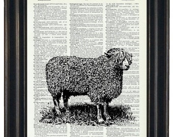BOGO Sale Sheep on Dictionary Page Dictionary Prints Farmhouse Decor Farmhouse Prints
