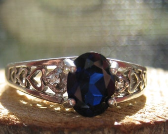 Vintage Sterling Silver Ladies Women's Ring with Lab Created Sapphire Stone Size 7